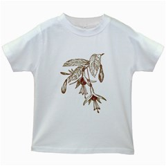 Floral Spray Gold And Red Pretty Kids White T-Shirts
