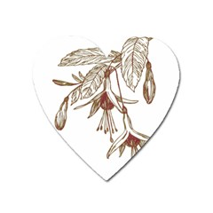 Floral Spray Gold And Red Pretty Heart Magnet