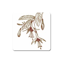 Floral Spray Gold And Red Pretty Square Magnet