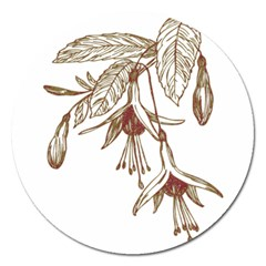Floral Spray Gold And Red Pretty Magnet 5  (Round)
