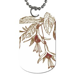 Floral Spray Gold And Red Pretty Dog Tag (One Side)