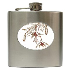 Floral Spray Gold And Red Pretty Hip Flask (6 oz)