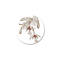 Floral Spray Gold And Red Pretty Golf Ball Marker