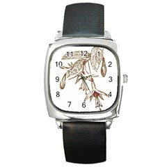 Floral Spray Gold And Red Pretty Square Metal Watch