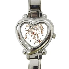 Floral Spray Gold And Red Pretty Heart Italian Charm Watch