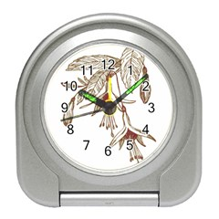 Floral Spray Gold And Red Pretty Travel Alarm Clocks