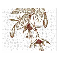 Floral Spray Gold And Red Pretty Rectangular Jigsaw Puzzl
