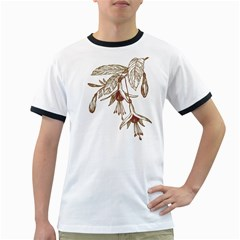 Floral Spray Gold And Red Pretty Ringer T-Shirts