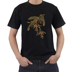 Floral Spray Gold And Red Pretty Men s T Shirt (black) (two Sided)