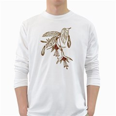 Floral Spray Gold And Red Pretty White Long Sleeve T Shirts
