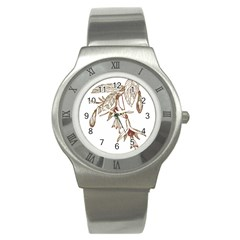 Floral Spray Gold And Red Pretty Stainless Steel Watch