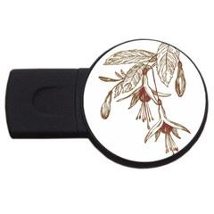 Floral Spray Gold And Red Pretty USB Flash Drive Round (4 GB)
