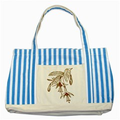 Floral Spray Gold And Red Pretty Striped Blue Tote Bag