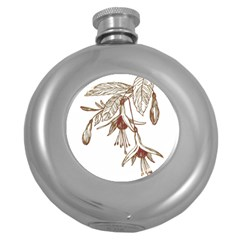 Floral Spray Gold And Red Pretty Round Hip Flask (5 oz)