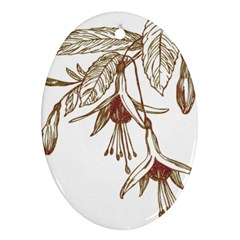 Floral Spray Gold And Red Pretty Oval Ornament (Two Sides)