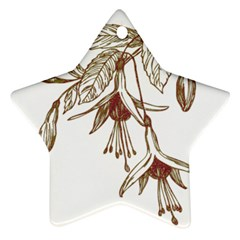 Floral Spray Gold And Red Pretty Star Ornament (two Sides)