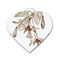 Floral Spray Gold And Red Pretty Dog Tag Heart (one Side)