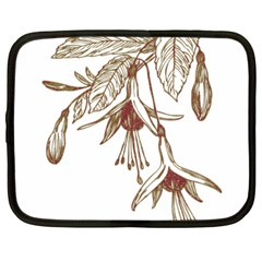 Floral Spray Gold And Red Pretty Netbook Case (Large)