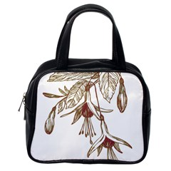 Floral Spray Gold And Red Pretty Classic Handbags (one Side)