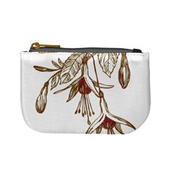 Floral Spray Gold And Red Pretty Mini Coin Purses