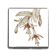 Floral Spray Gold And Red Pretty Memory Card Reader (Square)