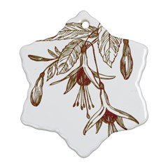 Floral Spray Gold And Red Pretty Snowflake Ornament (Two Sides)