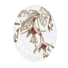 Floral Spray Gold And Red Pretty Ornament (Oval Filigree)