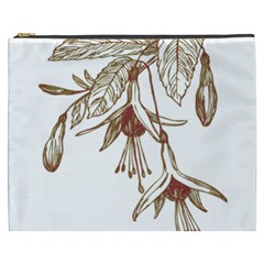 Floral Spray Gold And Red Pretty Cosmetic Bag (xxxl)