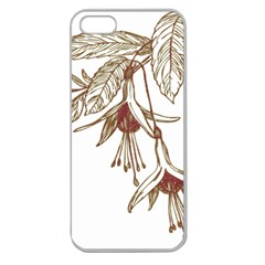 Floral Spray Gold And Red Pretty Apple Seamless iPhone 5 Case (Clear)