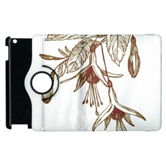 Floral Spray Gold And Red Pretty Apple Ipad 2 Flip 360 Case
