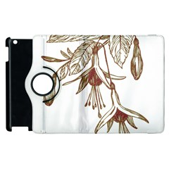 Floral Spray Gold And Red Pretty Apple iPad 3/4 Flip 360 Case