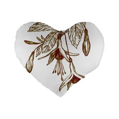 Floral Spray Gold And Red Pretty Standard 16  Premium Heart Shape Cushions