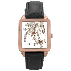 Floral Spray Gold And Red Pretty Rose Gold Leather Watch