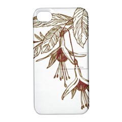 Floral Spray Gold And Red Pretty Apple Iphone 4/4s Hardshell Case With Stand