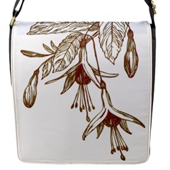 Floral Spray Gold And Red Pretty Flap Messenger Bag (S)