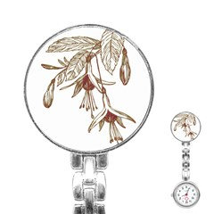 Floral Spray Gold And Red Pretty Stainless Steel Nurses Watch