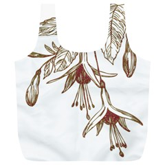 Floral Spray Gold And Red Pretty Full Print Recycle Bags (l)
