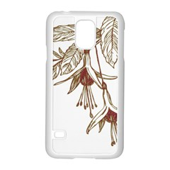 Floral Spray Gold And Red Pretty Samsung Galaxy S5 Case (White)