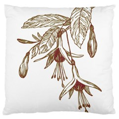 Floral Spray Gold And Red Pretty Large Flano Cushion Case (Two Sides)