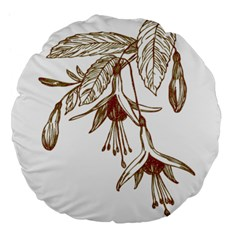 Floral Spray Gold And Red Pretty Large 18  Premium Flano Round Cushions