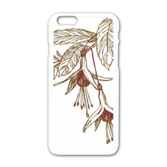 Floral Spray Gold And Red Pretty Apple Iphone 6/6s White Enamel Case