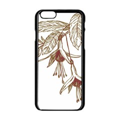 Floral Spray Gold And Red Pretty Apple Iphone 6/6s Black Enamel Case