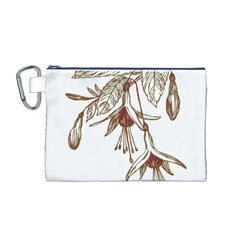 Floral Spray Gold And Red Pretty Canvas Cosmetic Bag (m)