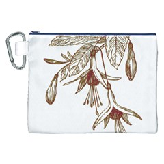 Floral Spray Gold And Red Pretty Canvas Cosmetic Bag (xxl)