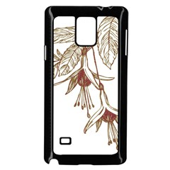 Floral Spray Gold And Red Pretty Samsung Galaxy Note 4 Case (Black)