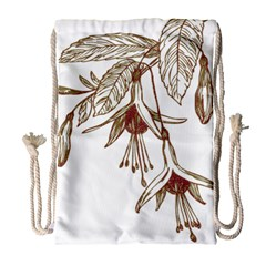 Floral Spray Gold And Red Pretty Drawstring Bag (large)