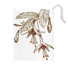 Floral Spray Gold And Red Pretty Drawstring Pouches (extra Large)
