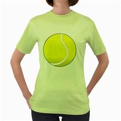 Tennis Ball Ball Sport Fitness Women s Green T-Shirt