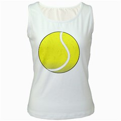 Tennis Ball Ball Sport Fitness Women s White Tank Top