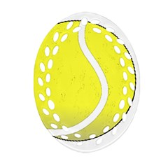 Tennis Ball Ball Sport Fitness Oval Filigree Ornament (two Sides)